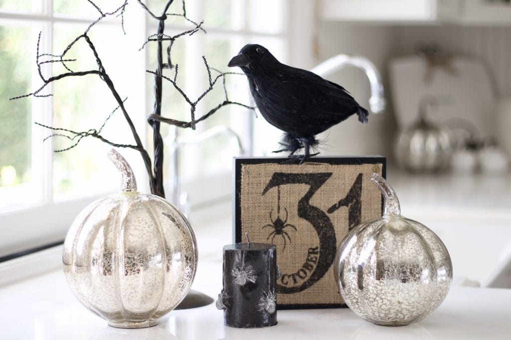 black and white halloween decor raven pumpkins spooky tree kitchen decor