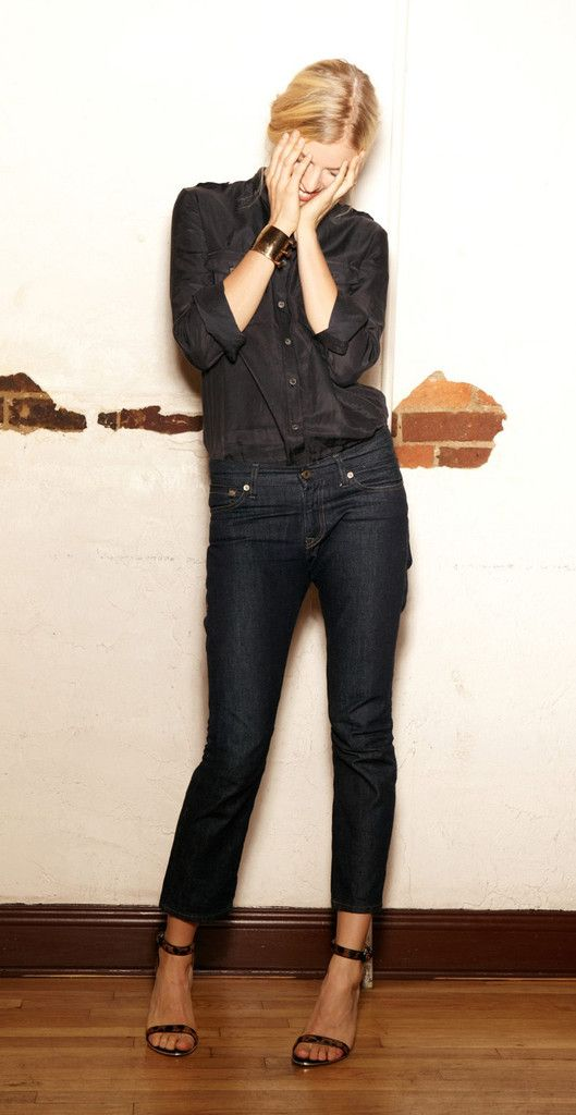 monochrome dressing black blouse and jeans fashion chic style