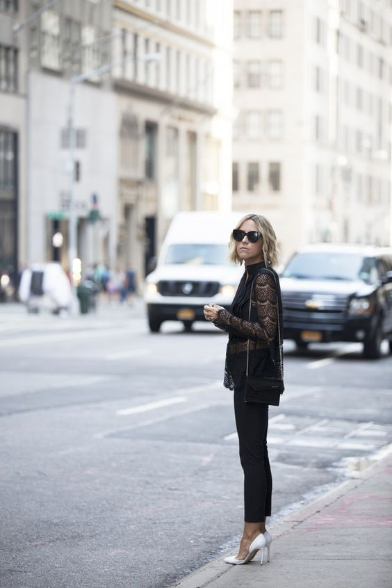 monochrome outfit black lace blouse black skinnies white pumps stylish fashion