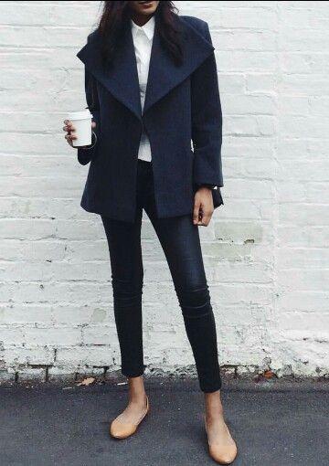 monochrome fashion black coat black skinnies cute casual style fashion