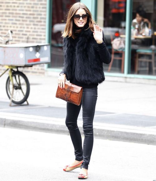 monochrome outfit black fur vest black leather skinnies olivia palermo street style fashion