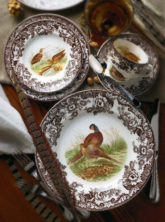 vintage turkey plates pheasants spode woodland pattern table setting