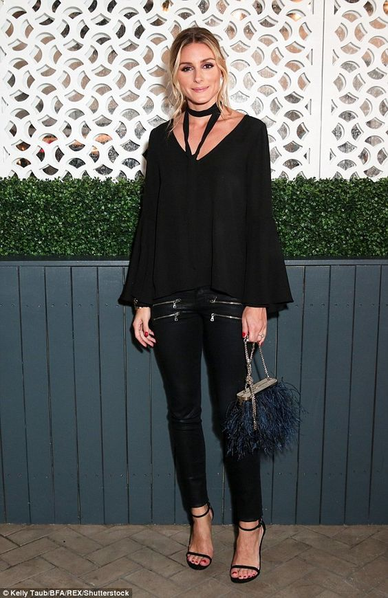 monochrome outfit olivia palermo all black outfit blouse and jeans