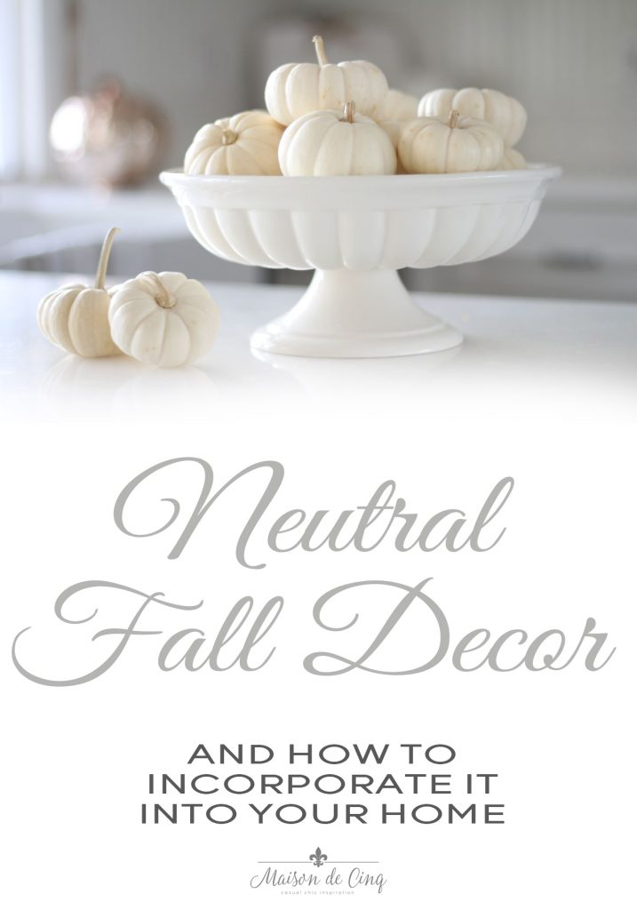 neutral fall decor white pumpkins in white bowl gorgeous display