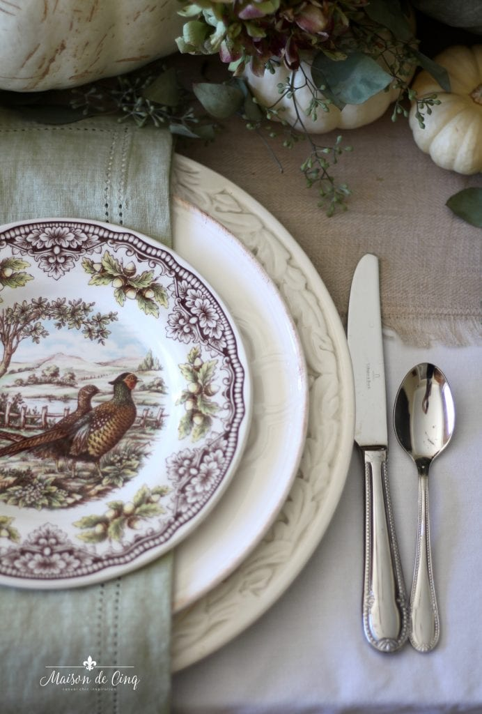 vintage turkey plates pheasants gorgeous fall tablescape with white pumpkins linen napkins
