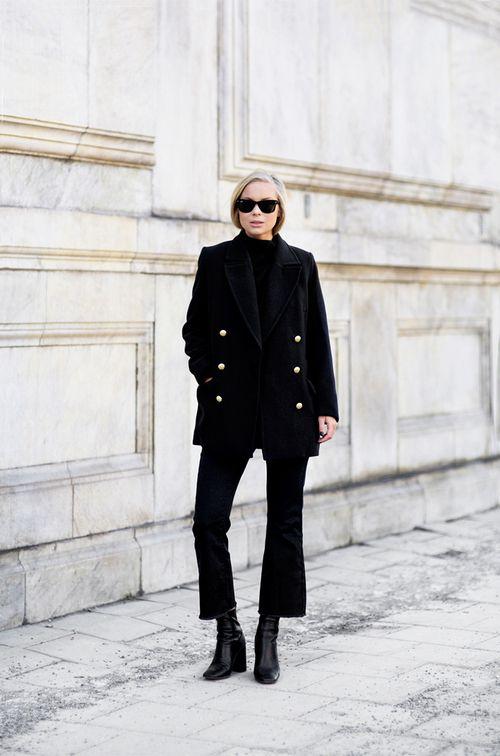 monochrome black outfit coat sunglasses chic boots fashion trend