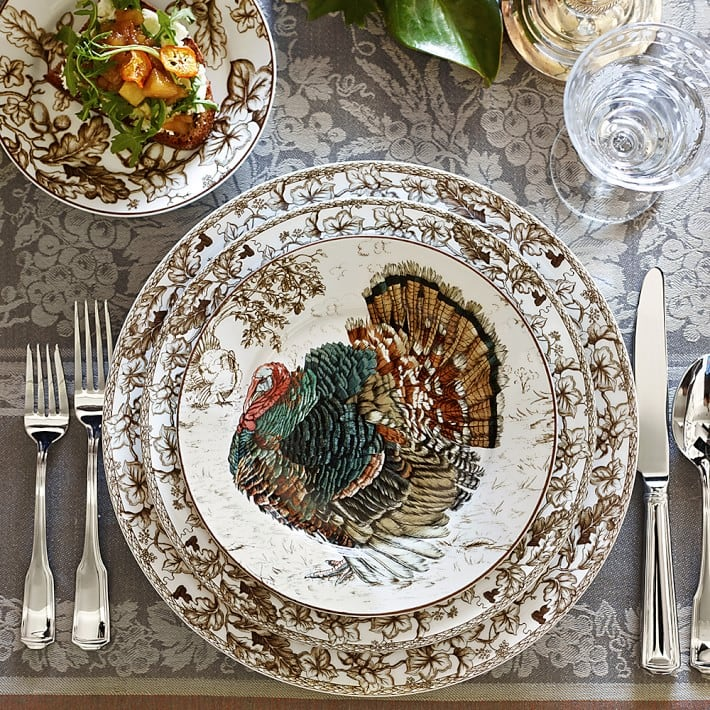 vintage turkey plates williams sonoma pretty thanksgiving tablesetting