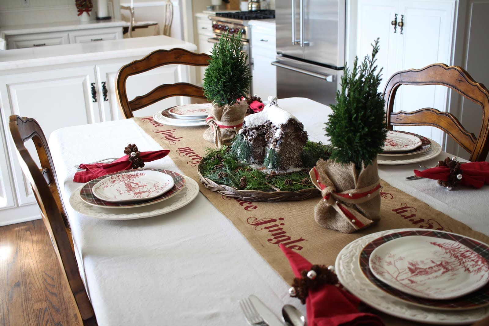 A Nature Inspired Christmas Tablescape Featuring Plaid
