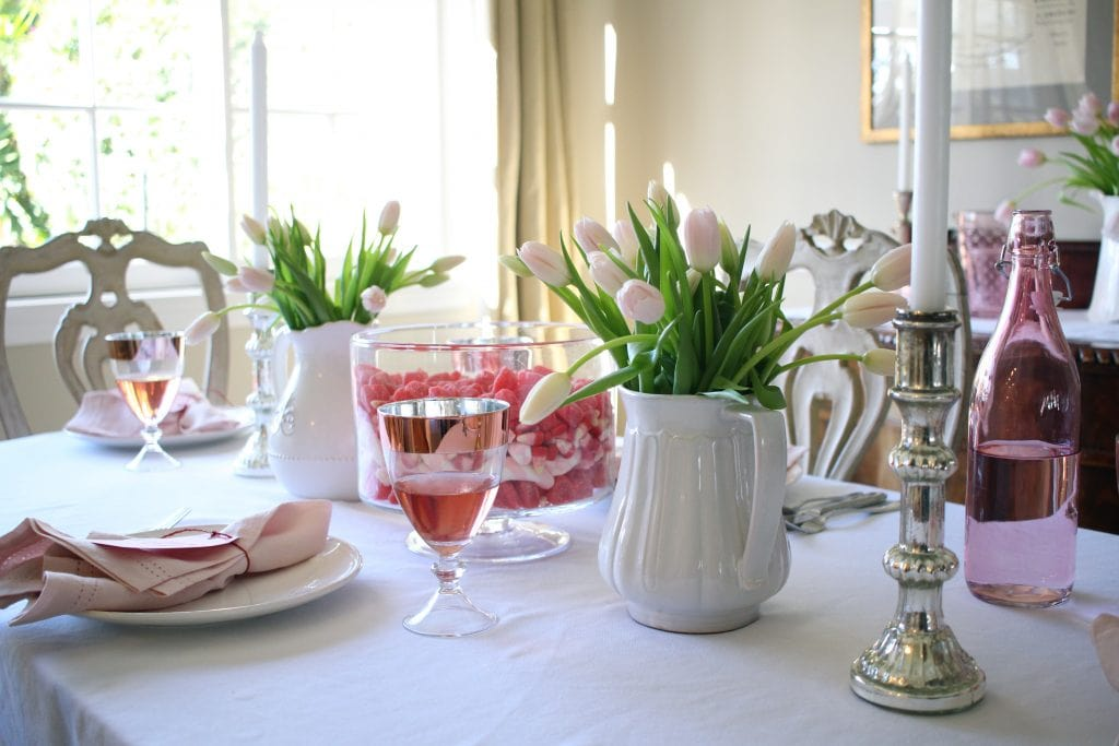 valentines-day-table-pink tulips trifle bowl centerpiece silver candlesticks