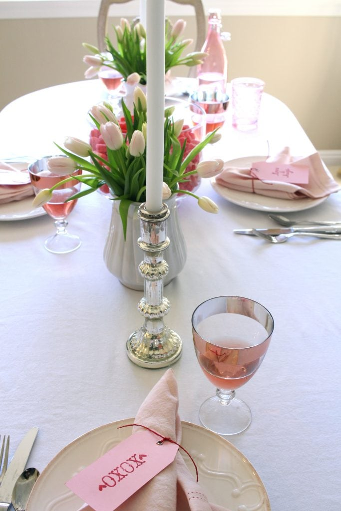 valentines-day-tablescape-pink tulips silver candlesticks