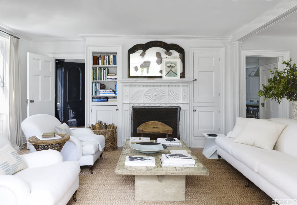 design-trends-texture-nubby-rug white living room chic transitional style