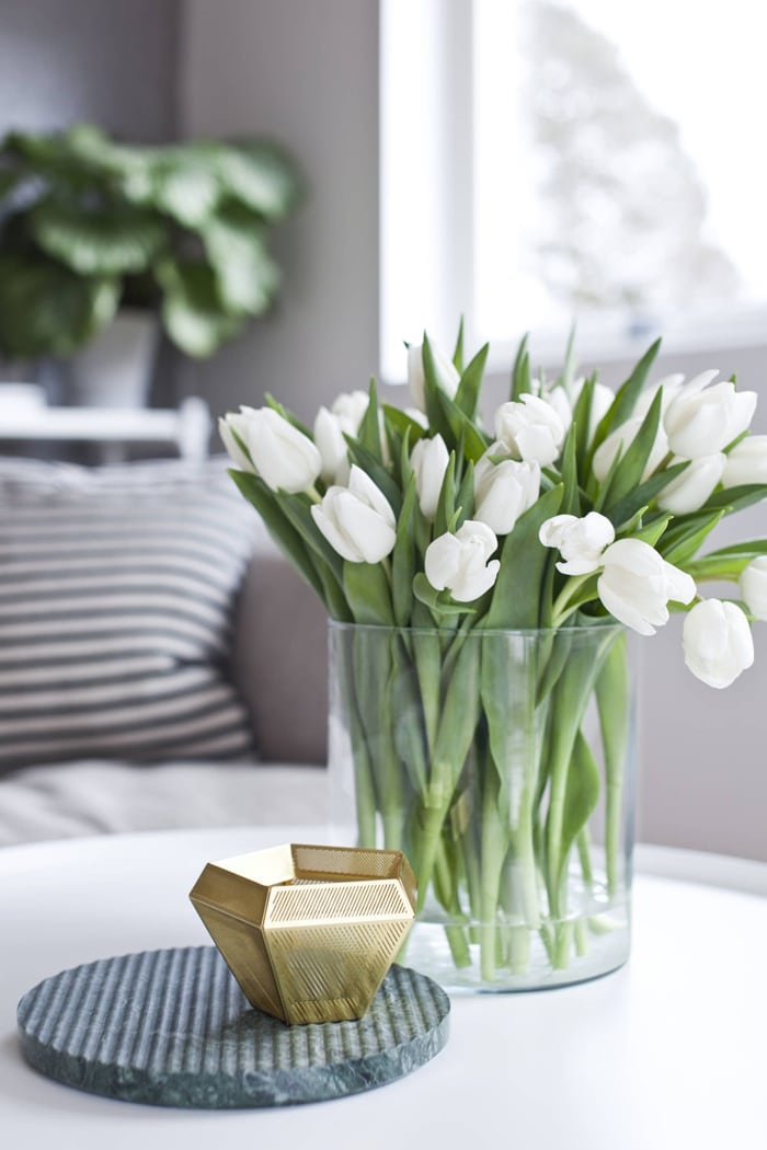 white tulips in glass vase simple beauty