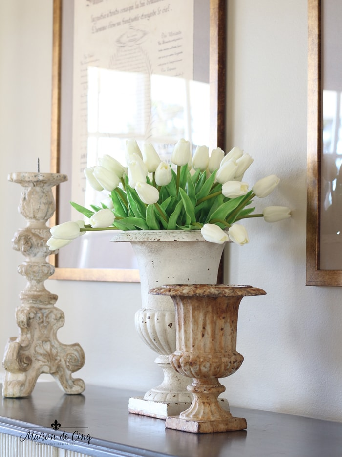 French country farmhouse decor white tulips in vintage urn