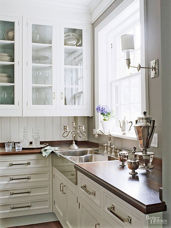 classic-butlers-pantry white cabinets beadboard and wood counters