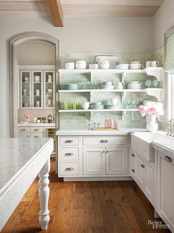white french farmhouse kitchen with pale green tile