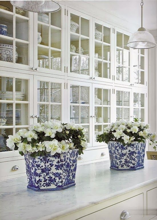 gorgeous-butlers-pantry with blue and white accents in white kitchen