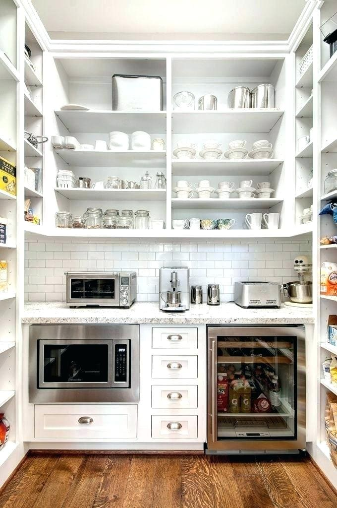 butler's pantry with appliances dishes great shelf storage