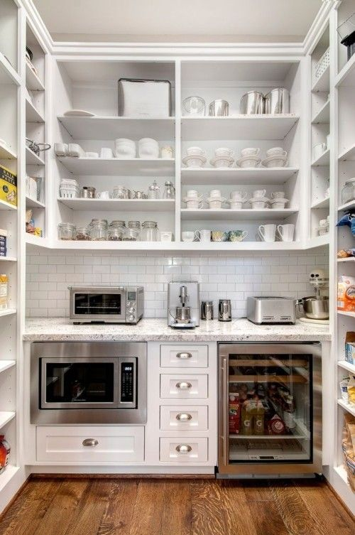 beautiful-butlers-pantry white cabinets and white marble counters