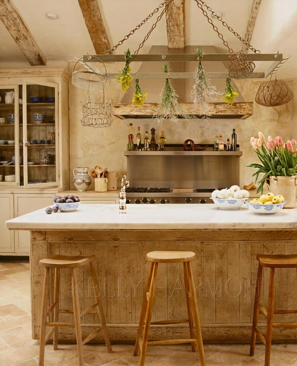 french farmhouse kitchens natural wood island and beams