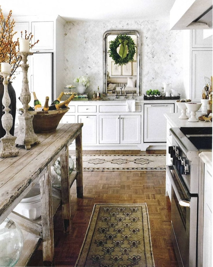 french farmhouse kitchens white french country style antique table island marble backsplash mirror