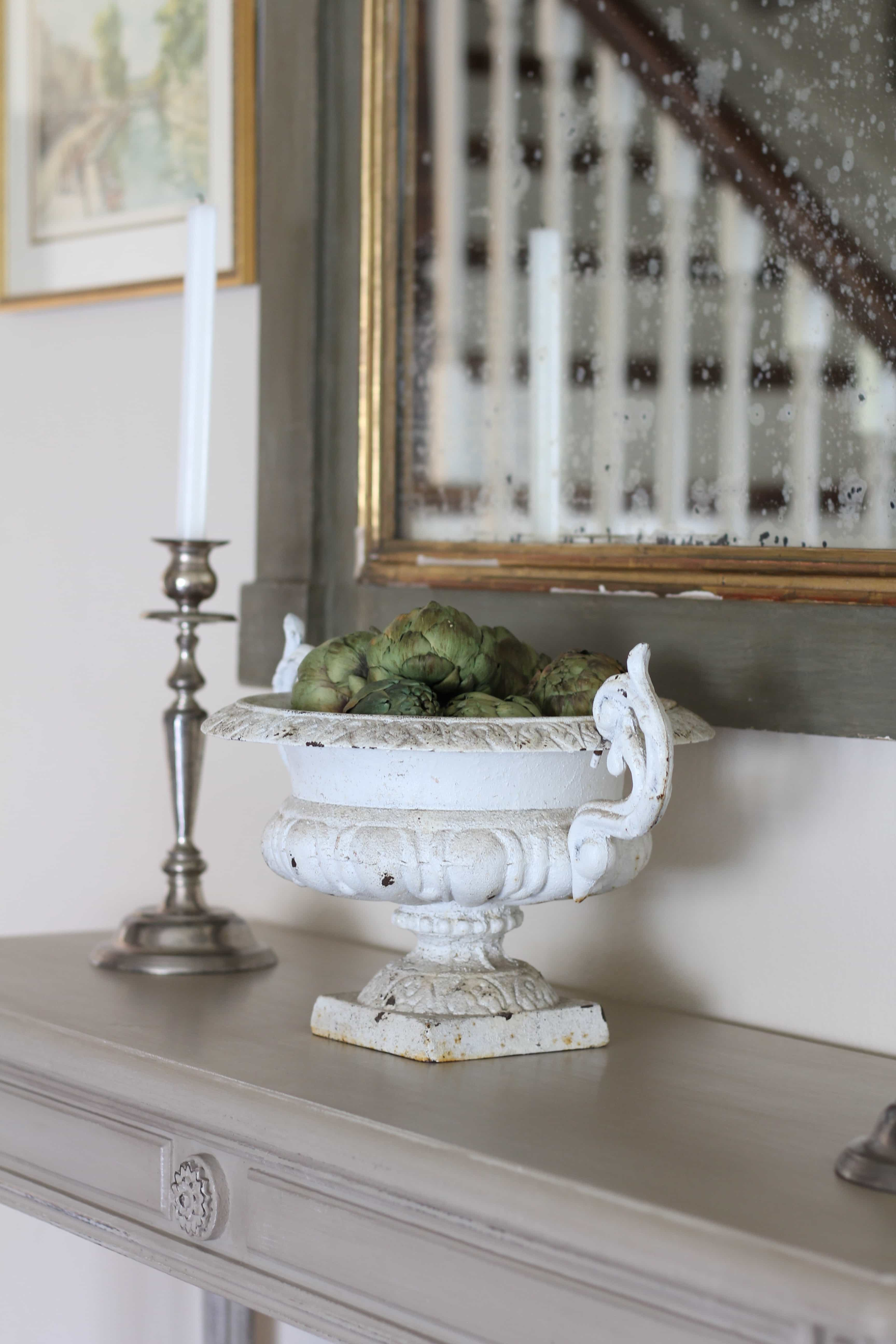 antique-urn-artichokes-spring-decor