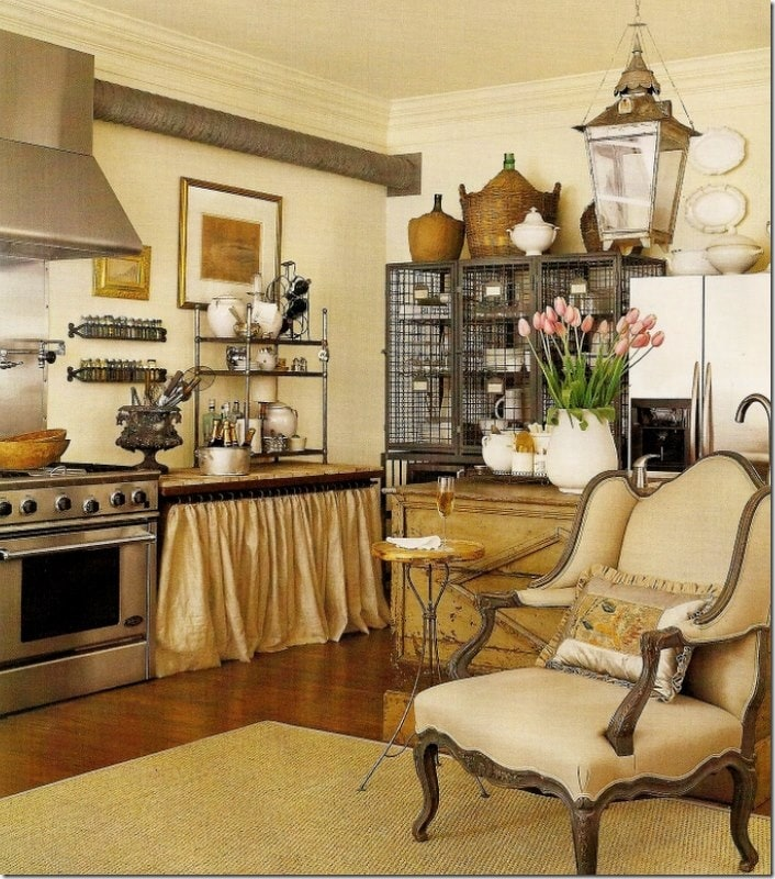 french farmhouse kitchens open shelves french chair wire cabinets demijohns