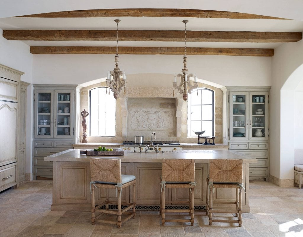 french farmhouse kitchens wood beams twin chandeliers wicker bar stools gorgeous french country style