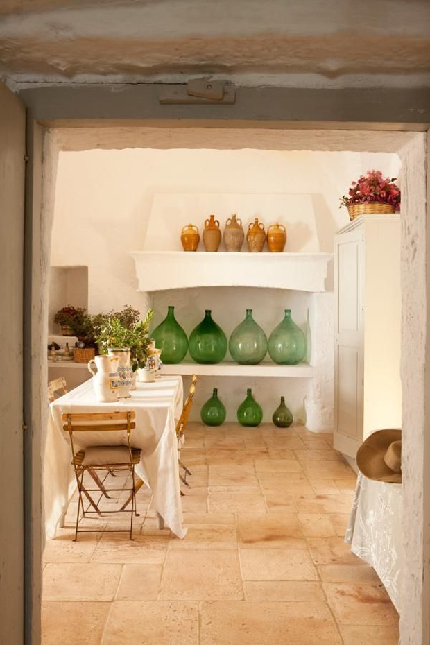 green-antique-demijohns-rustic-kitchen french country decor