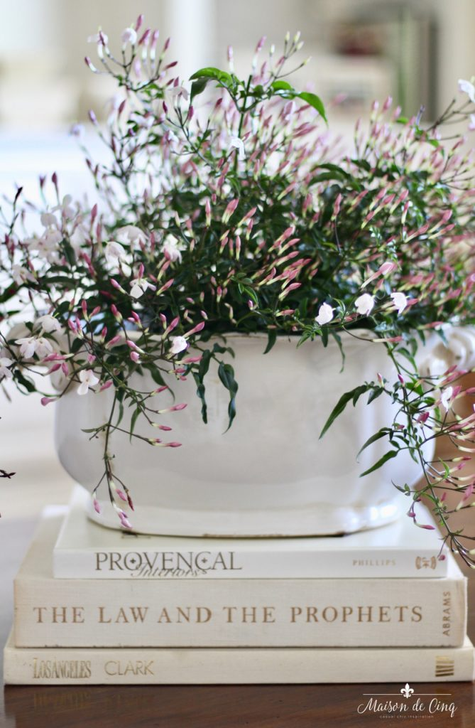 decorating with flowers pink jasmine in white cache pot farmhouse decor