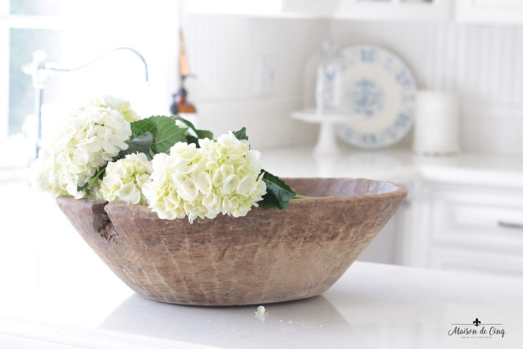 decorating with flowers hydrangeas wood dough bowl charming display in white farmhouse kitchen