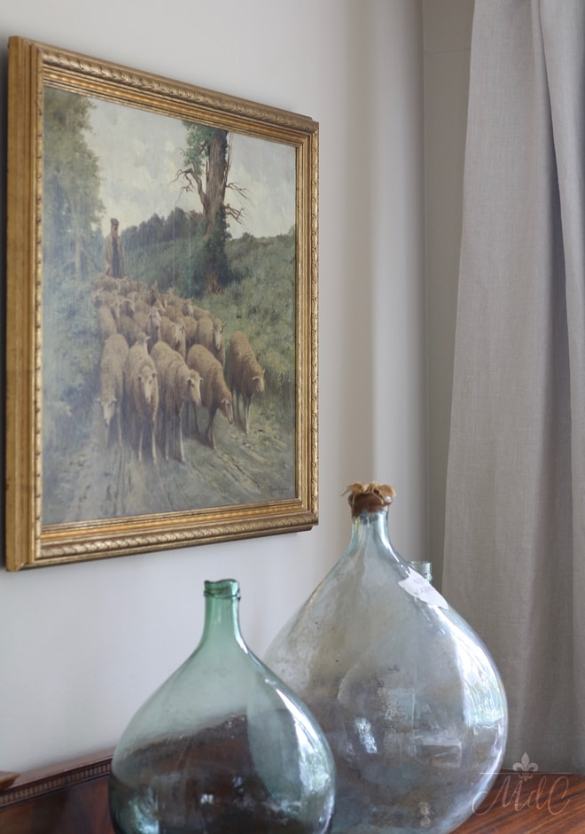 French demijohns in french country dining room