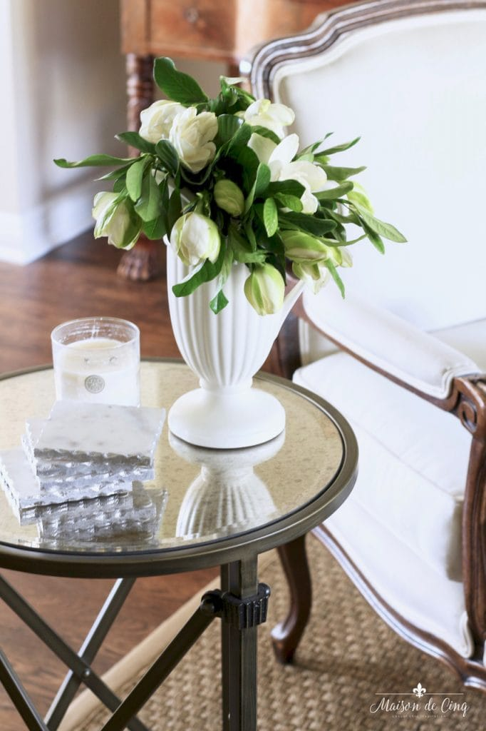 decorating with flowers white gardenias white vase in french country living room