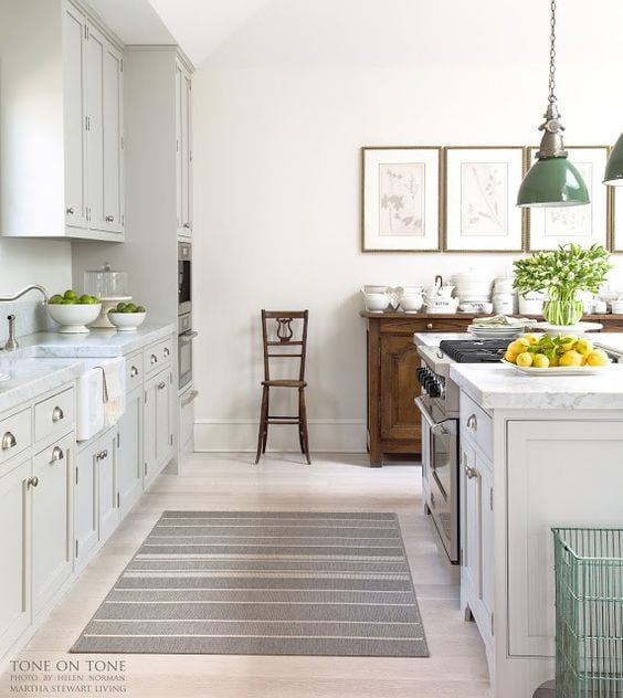 grey-and-white-kitchen-green-pendants