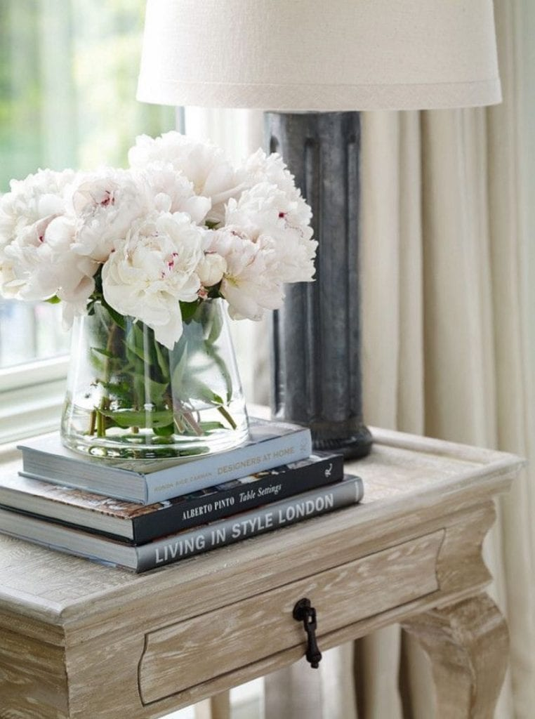 white-peonies-glass-vase side table vignette