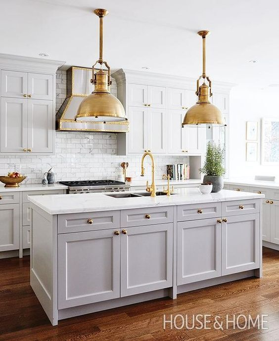 grey-and-white-kitchen-brass-pendants