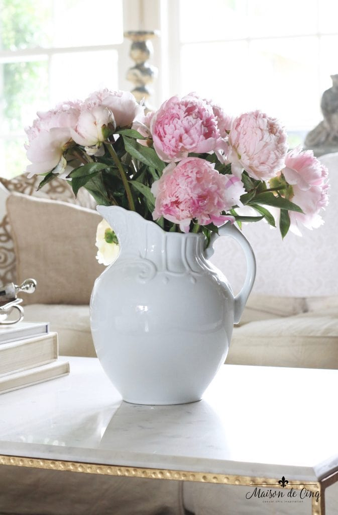 pink peonies in white ironstone vase pitcher neutral french style living room beautiful vignette