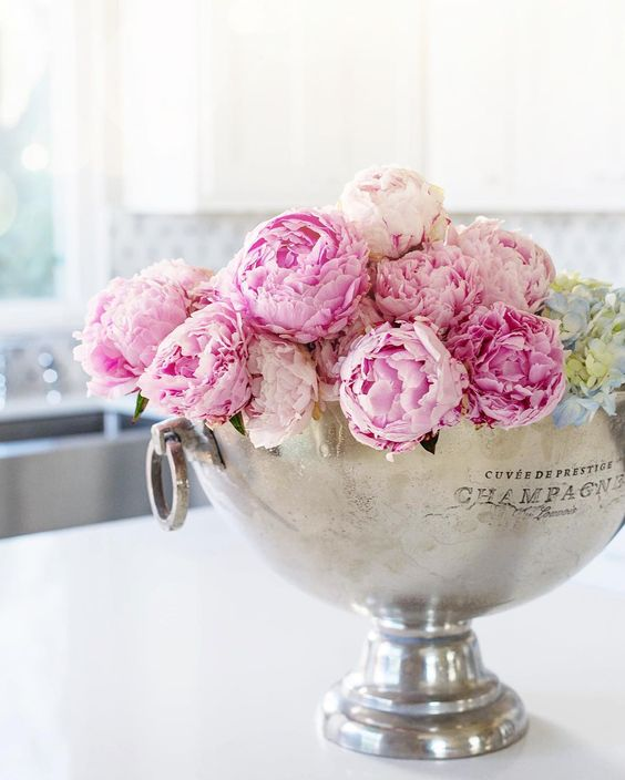 pink-peonies-silver-champagne-bucket in white kitchen