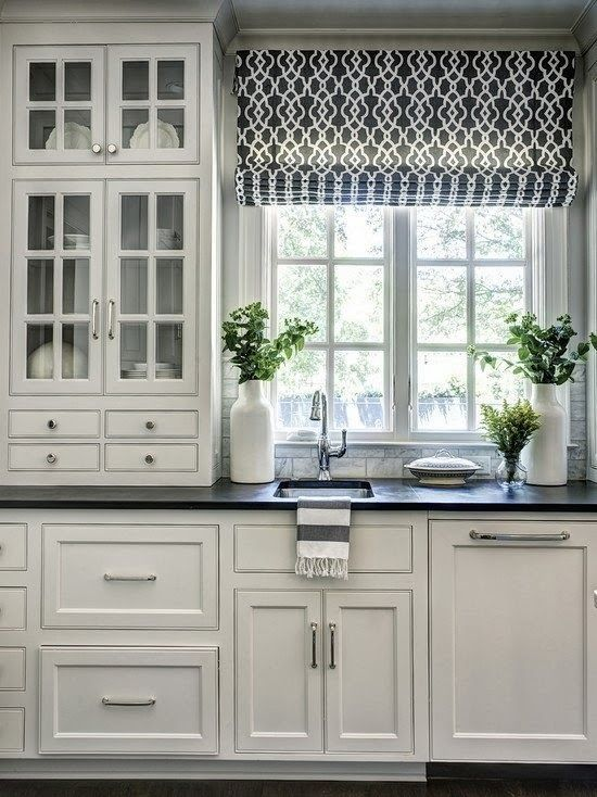 black and white kitchen roman shade