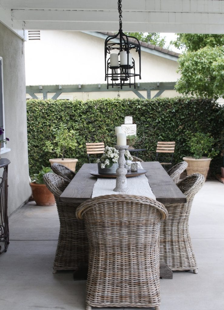 backyard dining area wicker chairs