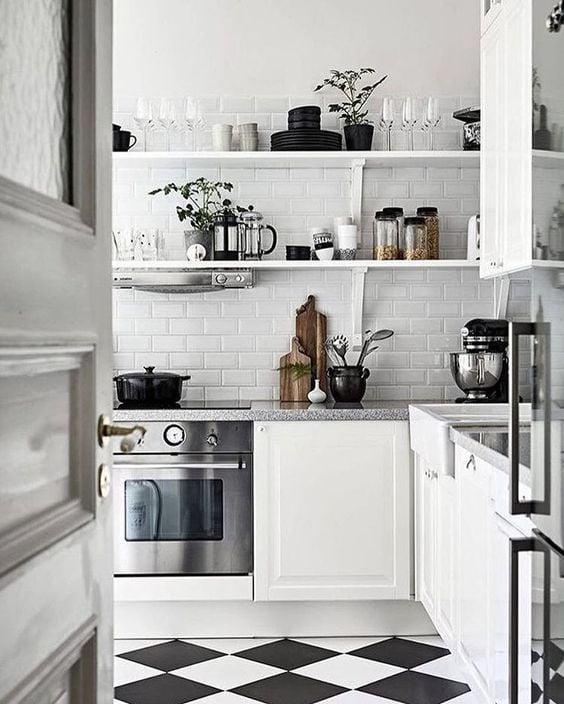 black and white kitchen diamond floor pattern