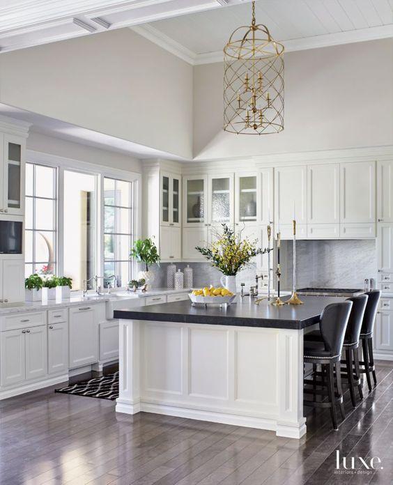black and white kitchen black island 2