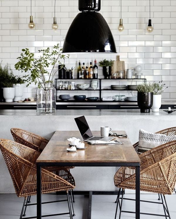 black and white kitchen black lantern rattan chairs