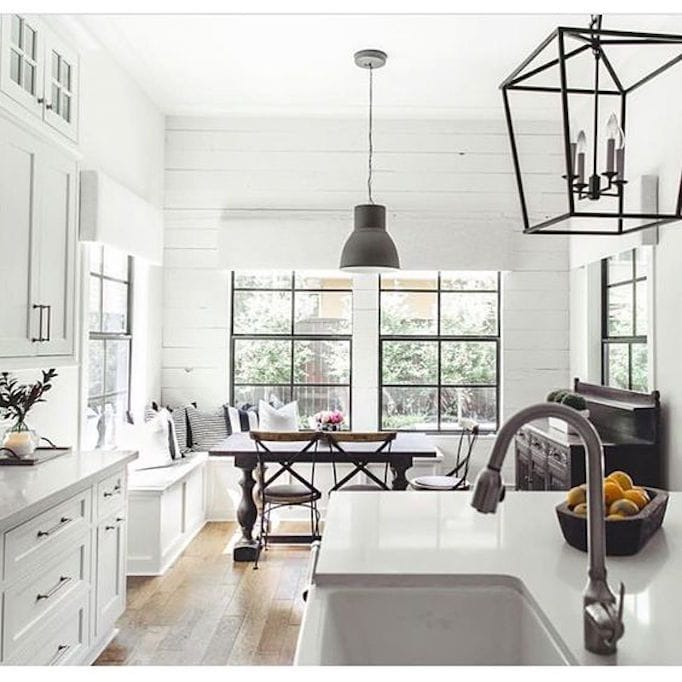 black and white farmhouse kitchen lanterns shiplap
