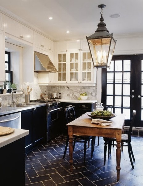 black and white kitchen vintage lantern black french doors