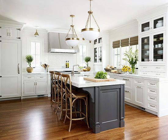 black and white kitchen black island white lanterns
