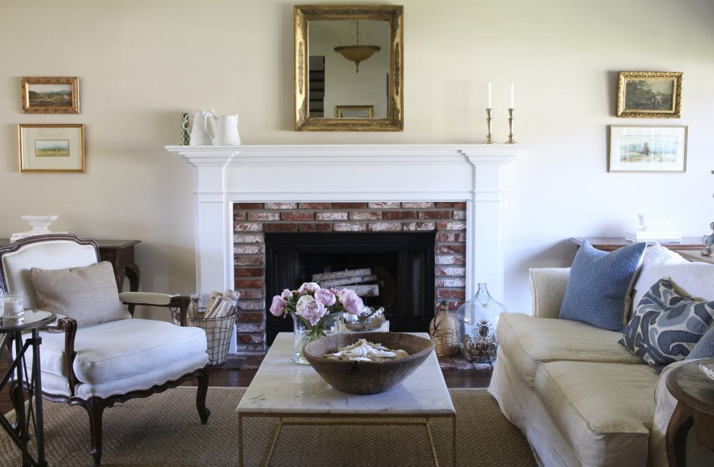 living room spring decor fireplace mantel sitting area