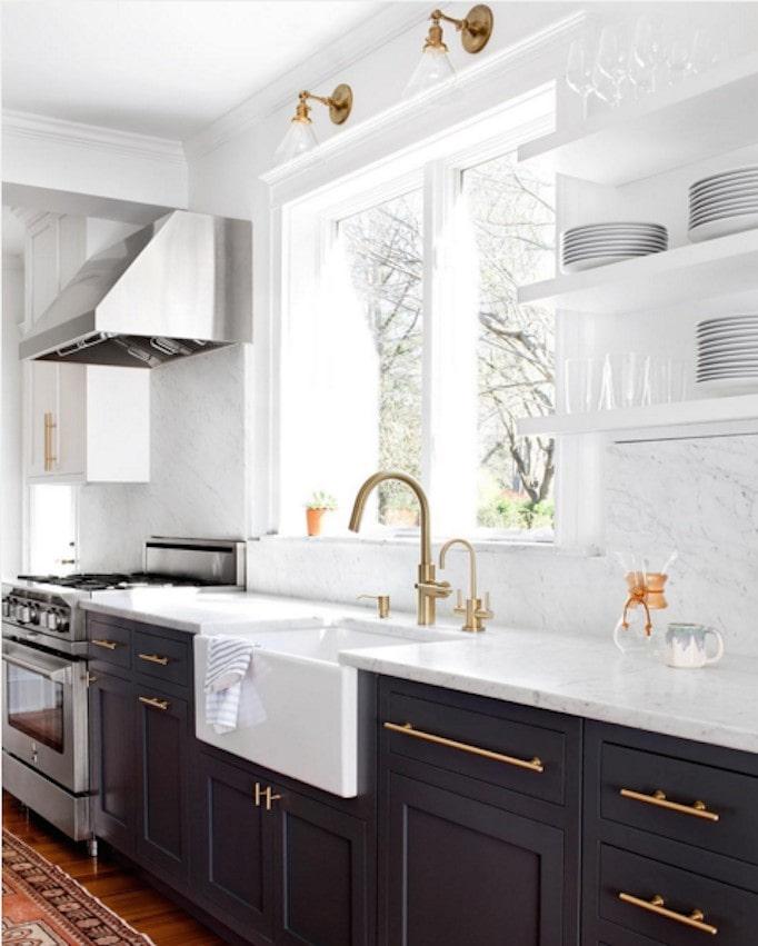 modern black and white kitchen brass hardware