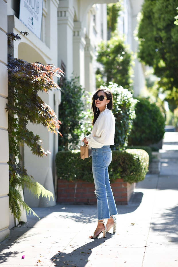 cropped jeans with block heel sandals and blouse