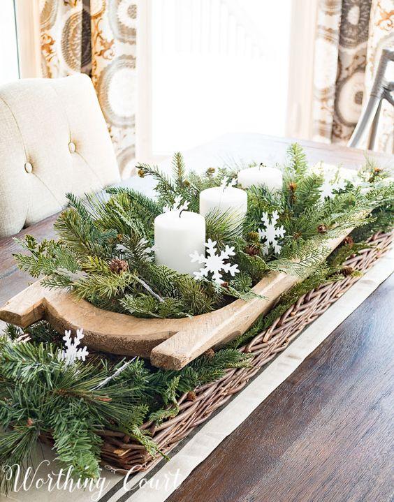 dough bowls greens pine cones candles christmas decor