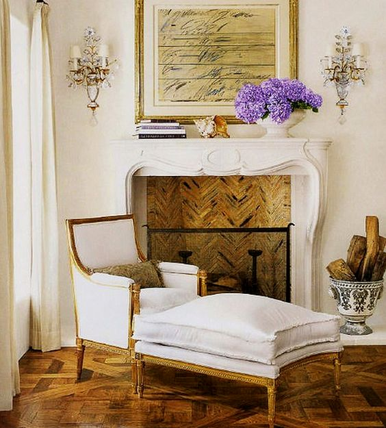 bergere chair fireplace stunning vignette